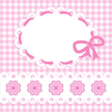pink stripes: Baby girl card with stripes and flowers.