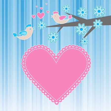 Two birds in love.  Vector