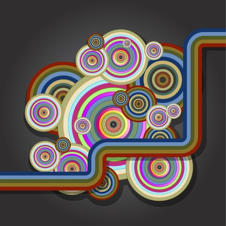 Abstract background with colored circles.