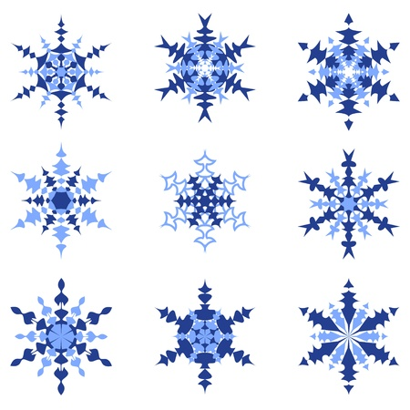 set of blue snowflakes isolated on a white background.