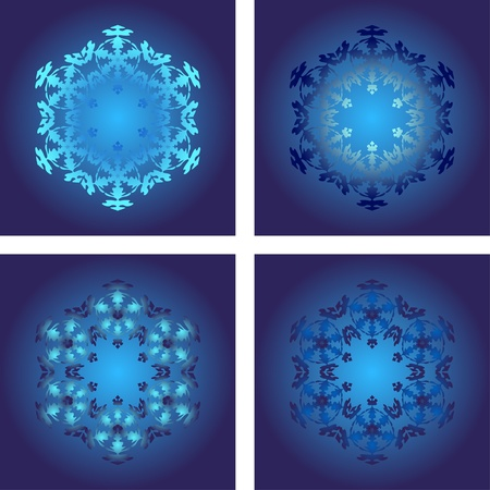 set of snowflakes on a blue background.