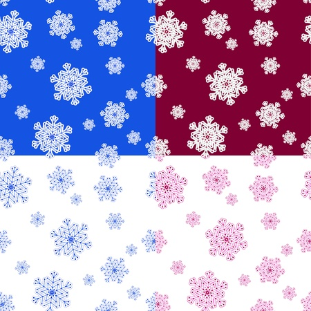 Set of winter seamless patterns with snowflakes.  Illustration