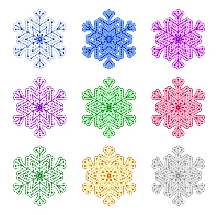 set of snowflakes of different colors isolated on a white background.