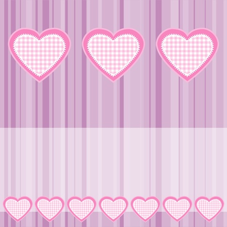 Background with pink hearts.  Vector