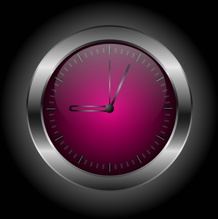 Dark red stylish clock &icirc,n a black background.