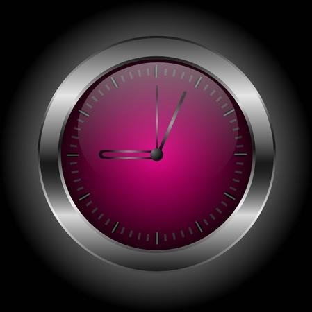 chrome button: Dark red stylish clock &icirc,n a black background.