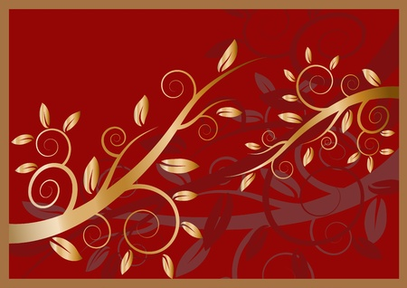 Golden floral ornament on a dark red background Illustration