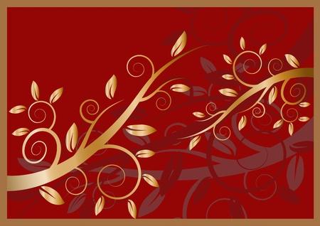 Golden floral ornament on a dark red background Illustration