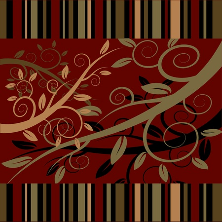Floral ornament on a dark red background.  ilustration.