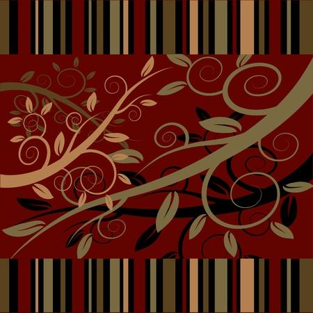Floral ornament on a dark red background.  ilustration.