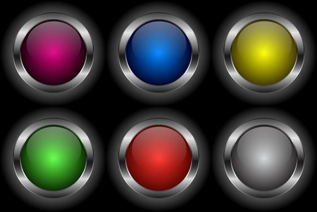 Set of glossy metal button icons