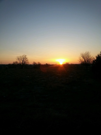 Yellow and orange sunrise in the morning Фото со стока
