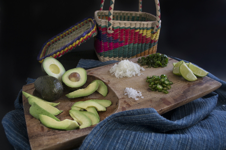 Ingredients for the preparation of guacamole or Mexican sauce Stock Photo