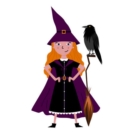 Cute witch with broomstick and raven. Girl in Halloween costume - cloak and witch hat. Trick or treat party. Spooky vector illustration. Halloween greeting card. Flat illustration isolated on white.