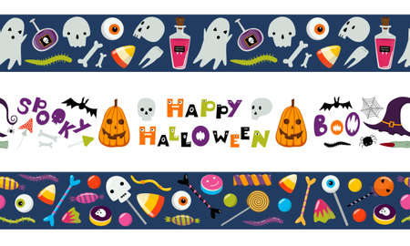 Set of seamless Halloween borders. Tape template. Vector illustration isolated on white. Ghost, trick or treat sweets, skull. Flat cartoon design. Border pattern for banners, washi tape, scrapbooking