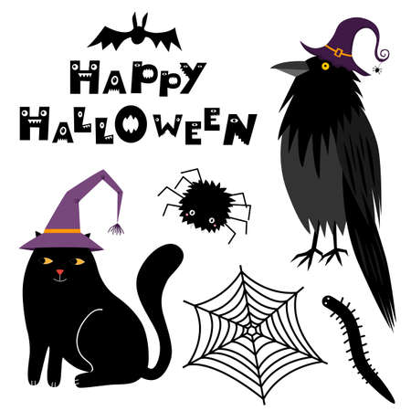 Cute Halloween magic animals in witch hats. Raven, black cat, spider, worm, spider web. Happy Halloween lettering. Vector illustration isolated on white background. Set of vector elements, flat design 向量圖像