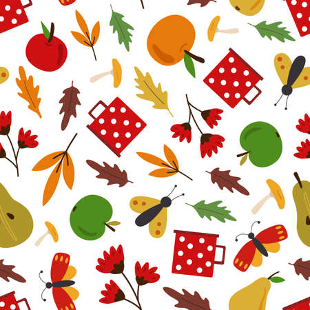 Autumn fall vector seamless pattern. Falling leaves, apples, pears. Harvesting. Isolated design elements.  Flat cartoon design.