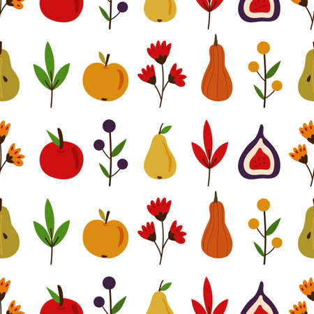 Autumn fall vector seamless pattern. Falling leaves, apples, pears, figs. Harvesting. Isolated elements.  Flat cartoon design 向量圖像
