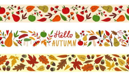 Set of seamless autumn fall borders. Tape template. Vector illustration isolated on white. Leaves, mushrooms, pears, apples. Flat cartoon design.