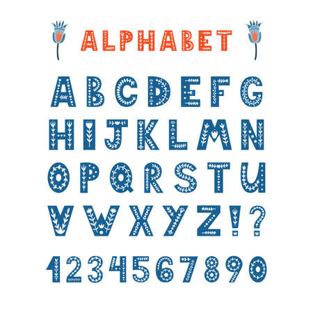 Folk latin alphabet. Decorative font, letters and ornate - leaves, flowers. Handwritten typescript for poster, banner, invitation. Hand drawn lettering. Vector scandinavian style ABC isolated on white