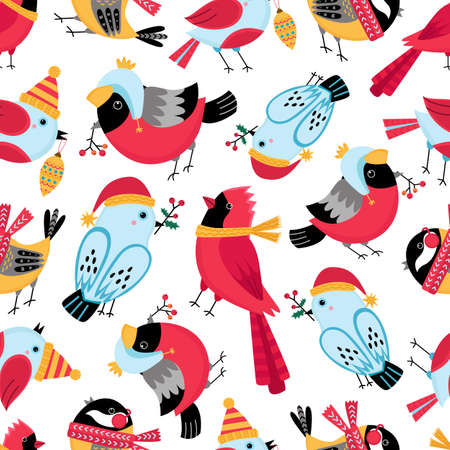 Vector seamless pattern with Christmas birds in hats. Bullfinch, blue bird, titmouse, northern cardinal. Isolatedt. Seasonal background for wallpaper, wrapping, textile, scrapbook. Flat cartoon design Stock Illustratie