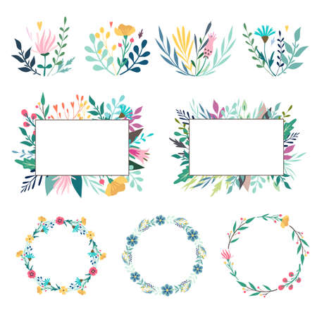 Set of spring floral design elements. Compositions, frames, wreaths. Wild flowers, leaves, berries, bouquet. Vector illustration isolated on white background. For banner, poster, card, invitation.