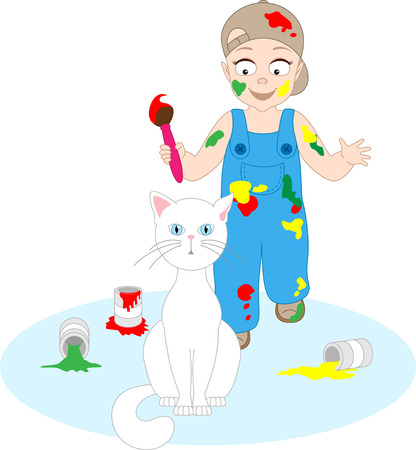 A boy is going to paint a cat Illustration