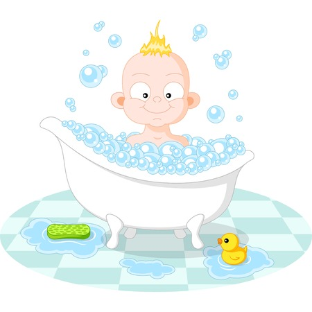 Happy Smiling Boy in the Bath on White Background Vector