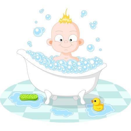 Heureux garçon souriant dans le bain sur fond blanc