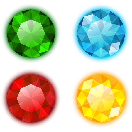 gems: The Set of Four Colorful Gems Round Shaped