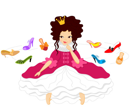 belle: Pretty Smiling Princess Dressed in a Fluffy Dress Chooses Shoes