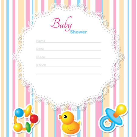 new born baby girl: Baby Shower Card Template. CMYK colors Illustration