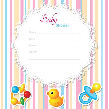 venue: Baby Shower modello di scheda. Colori CMYK Vettoriali