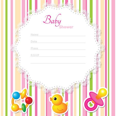 nato: Baby Shower modello di scheda. Colori CMYK Vettoriali