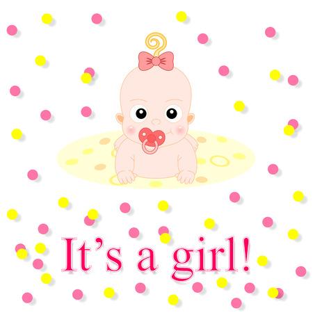 아기 카드. 귀여운 아기 소녀와 그 소녀 테마 일러스트