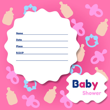 Stylish Baby Shower Invitation Card 向量圖像