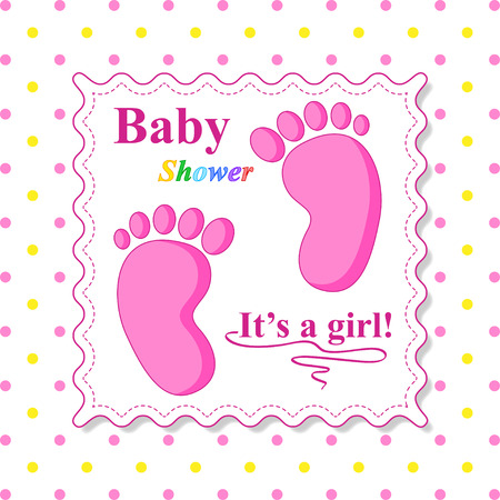 babies and children: Sweet Baby Shower Card. Pink Card Template Illustration