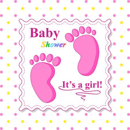 baby s: Zoete Douche van de baby. Roze Template Card Stock Illustratie
