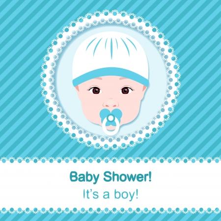 Baby boy shower. Blue card template Vector
