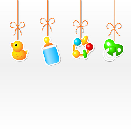 soother: Background with hanging babys things Illustration