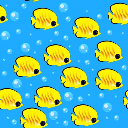 butterfly fish: A Shoal of Fish. Colorful Seamless Pattern Illustration