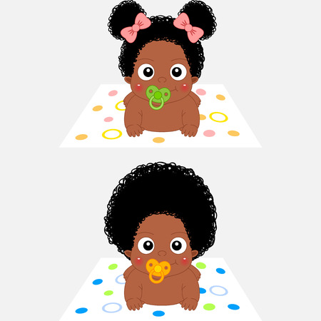 귀여운 만화 아프리카 여자 아기와 소년