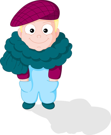 peaked cap: Cartoon Smiling Boy in a Peaked Cap and a Big Scarf