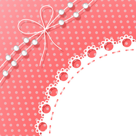 Frame with Bow and Beads on Polka Dots Background Vectores