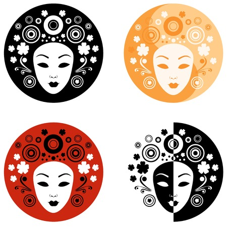 Abstract illustration of women's face on the circle Vector