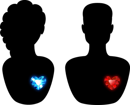 Silhouette of a Man and a Woman with Different Diamond Hearts Illustration