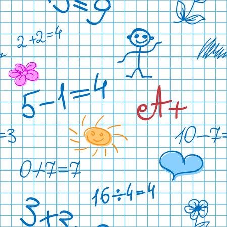 Seamless Background with Math Formulas, Sun, Little men, etc on Notebook Sheet