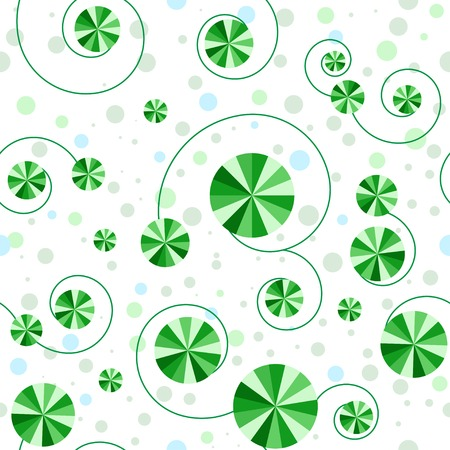 Seamless pattern with green striped circles