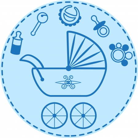 Pram and baby things collection Vector
