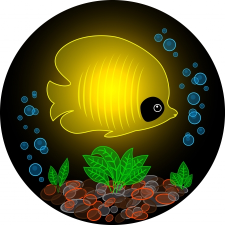 Transparent yellow fish glows in the dark Vector